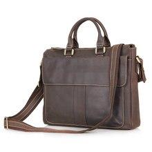 "Vintage Real Genuine Leather Men Messenger Bags Cow Leather Portfolio Business Men's Travel Bags 14"" Laptop Briefcase #VP-J7113"