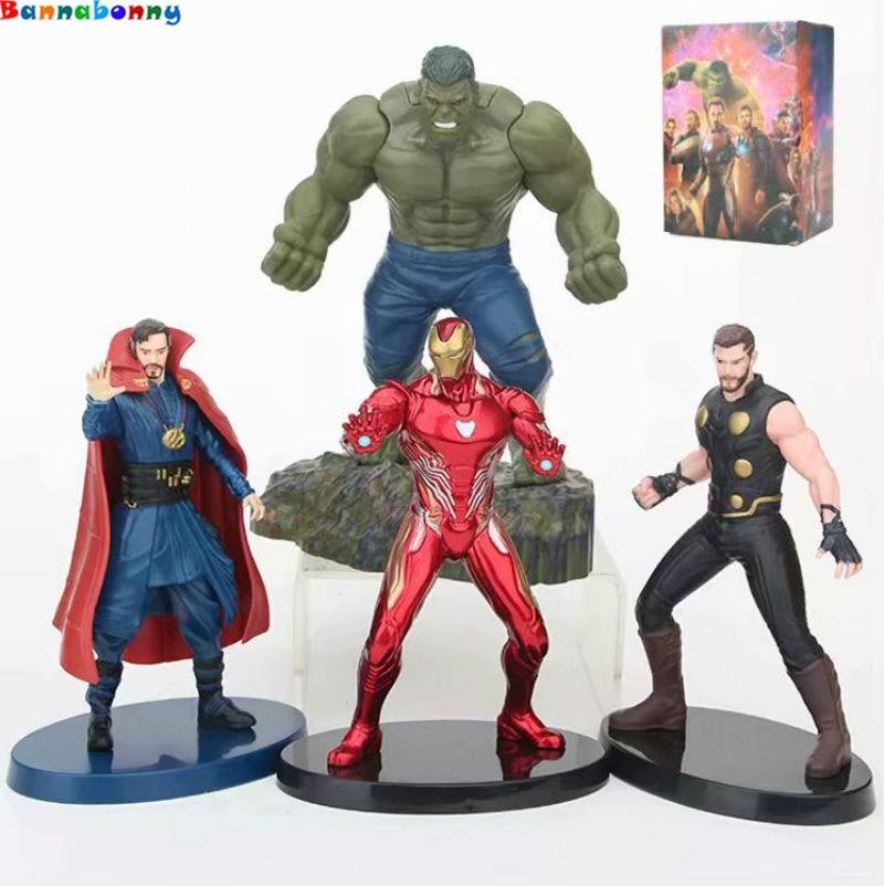 Cartoon Avengers Infinity War Hulk Doctor Strange Iron Man Mark 50 Thor PVC action figure doll model toy