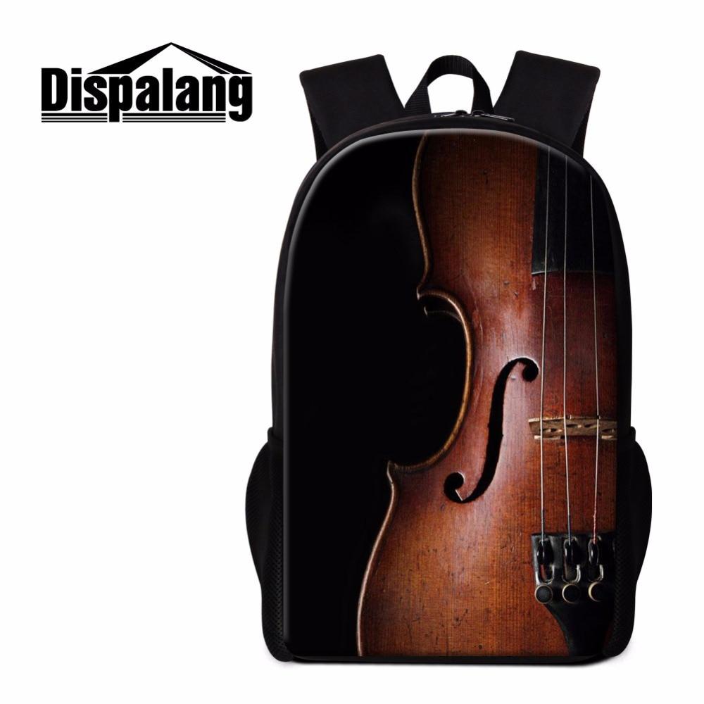 Dispalang Violin Print School Backpack for Girls Unique Lightweight Back pack Girly Bookbag Children Women Travel Bag Mochilas