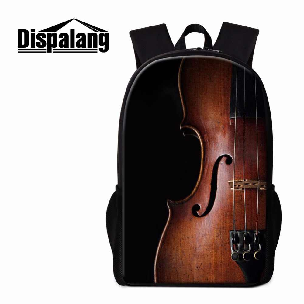 Dispalang Violin Print School Backpack for Girls Unique Lightweight Back pack Girly Bookbag Children Women Travel Bag Mochilas