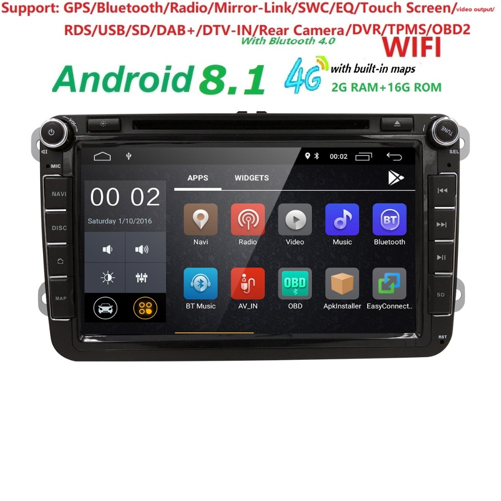 Hizpo Car Multimedia player Android 8.1 GPS 2 Din Car Radio Audio Auto For VW/Volkswagen/POLO/PASSAT/Golf 4 Cores FM Radio IPS