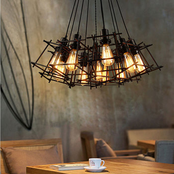 Multi heads loft chandelier dining room living room office bar club restaurant cafe light office clothing store pendant lamp