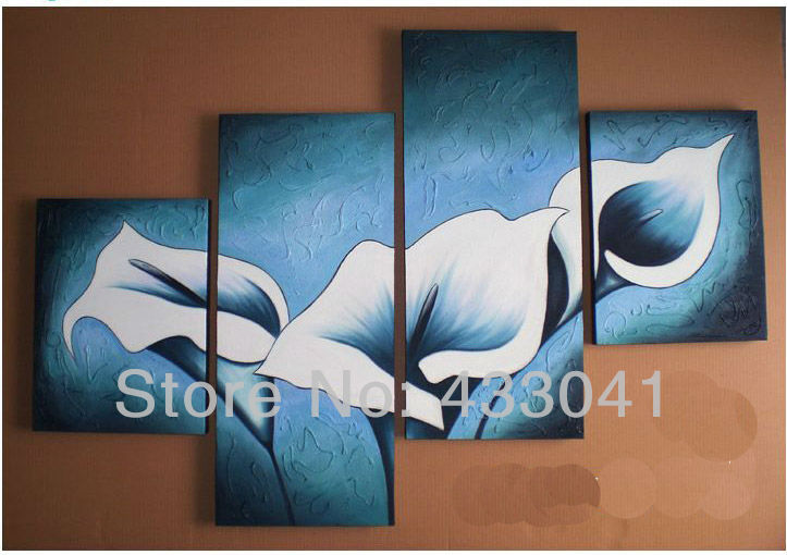 Handpainted Blue White Calla Lily Flower Landscape Oil Painting Home