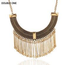 ФОТО 2017 fashion collier maxi choker collares women statement necklace metal tassel gypsy vintage bijoux necklace