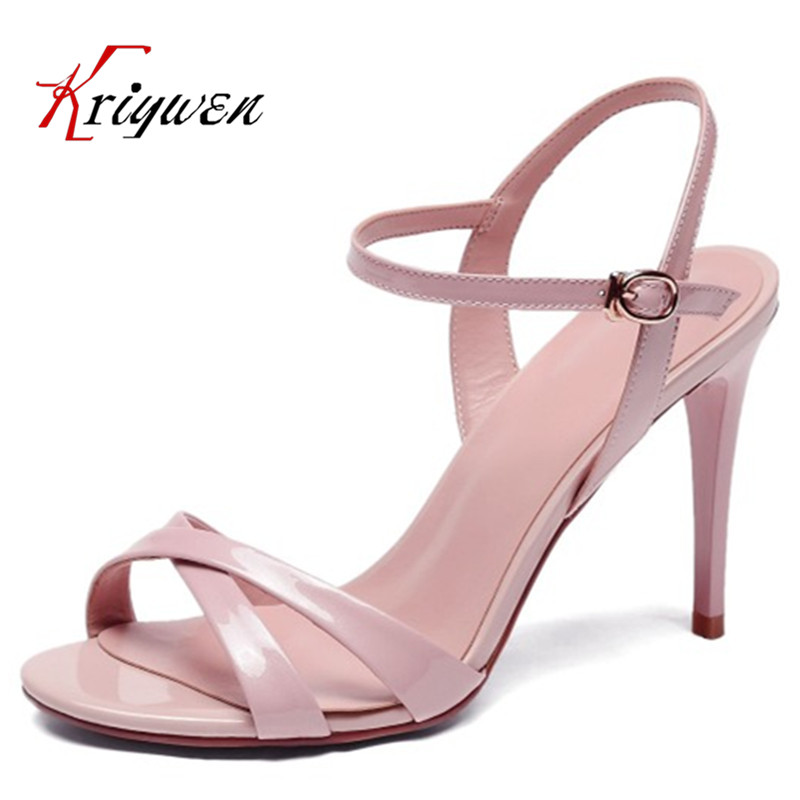 Hot sell 2016 Pink red black 100%cowhide leather Summer new thin heels open toe sandals patent leather women footwear work shoes
