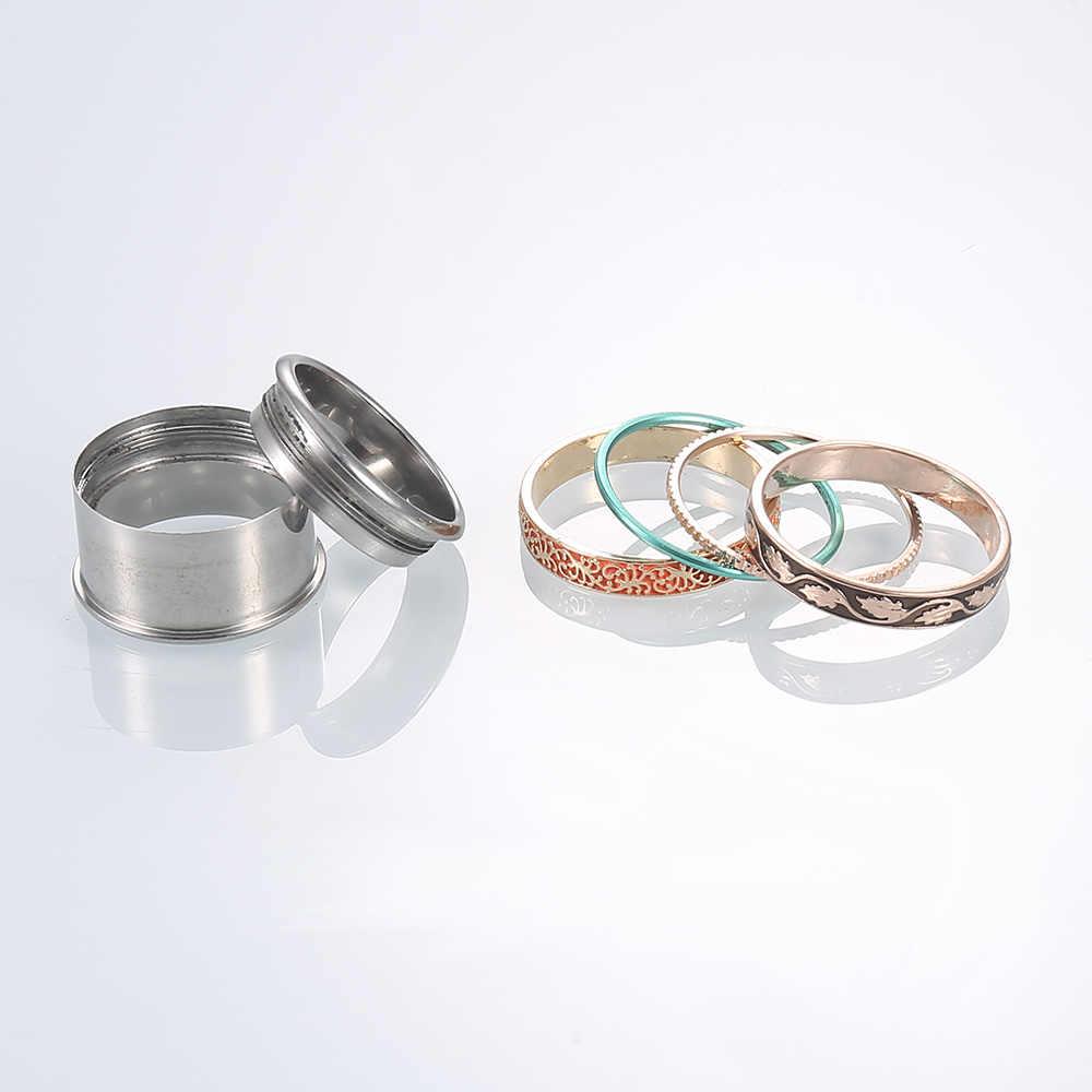 Anel Giratório de Aço Inoxidável Cremo Ringen Intercambiáveis Anéis Empilháveis Mulheres Flor Do Vintage Anéis da Faixa Do Casamento Set