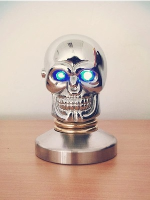 ( skull Tamper 58mm)Stainless Steel Coffee Tamper Barista Espresso Special Base Coffee Bean Press Cool skull with blue/red eyes