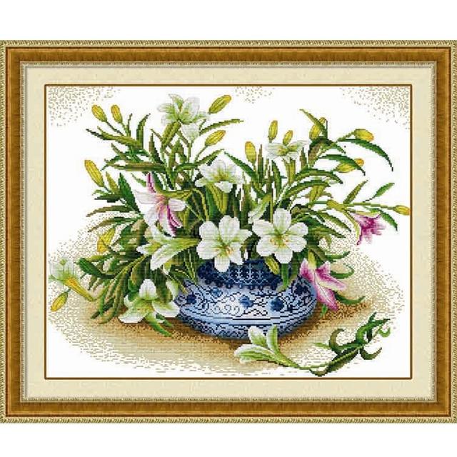 Хлопчатобумажная нить dmc вышивки крестом наборы 100% напечатаны вышивка diy 11ct рукоделие ручной стены цветок аватар home decor подарок