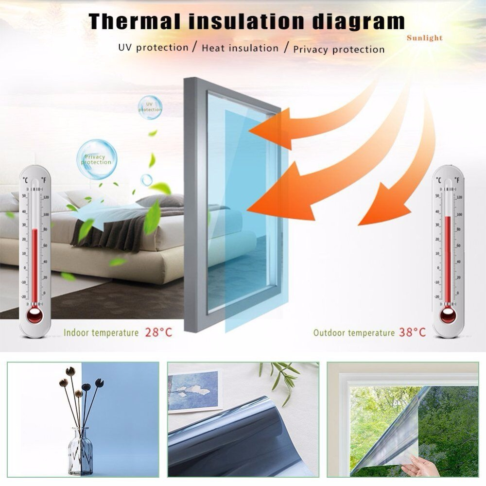 16cm X10m One Way Silver Privacy Window Film Sun Blocking Heat Control Home Gl Tint House Screen Mirrored Residential