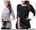 2014 новые-прибывающие летняя рубашка женщины похудения рубашка элегантный большой размер Большой размер женский выдалбливают рубашка XXXXL