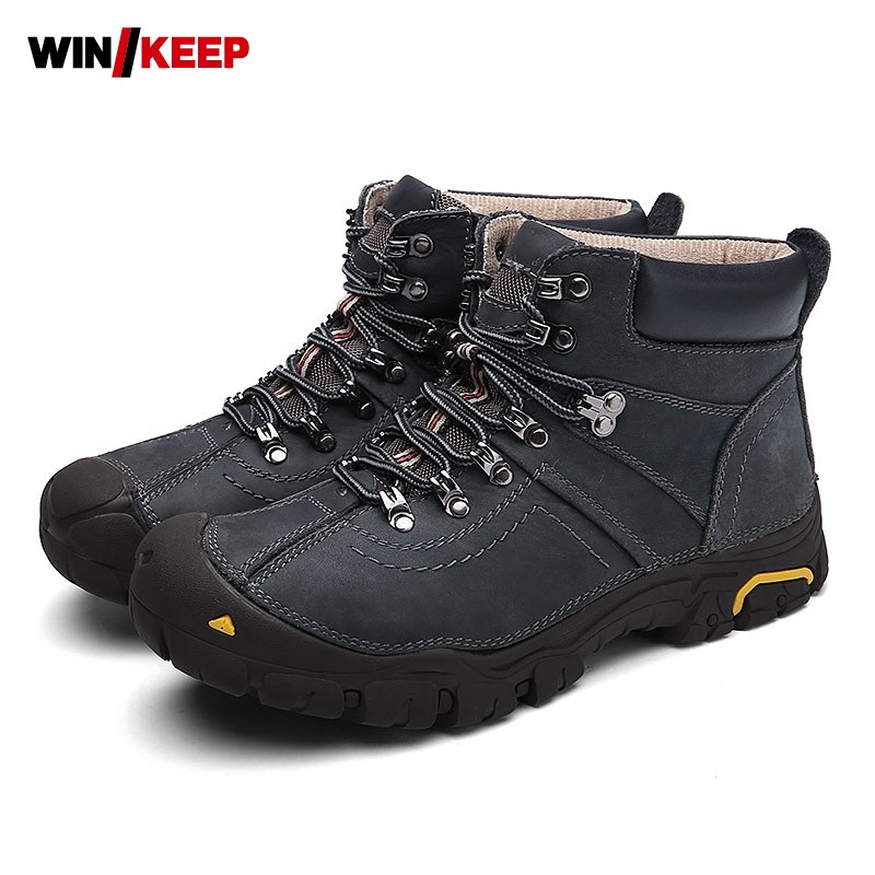 Hiking Boots Men Leather Trekking Outdoor Shoes Fleece Lining Warm Winter Sneaker Army Combat Boots Hiking Climbing Footwear gomnear winter men s hiking boots outdoor climbing toutism hunting athletic boot trend trekking warm velvet sport shoes for male
