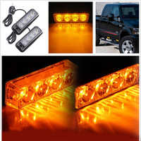 Yellow 2pcs 4LED Waterproof 12V 24V Car LED Warning Light Truck Warning Lights Emergency Stop Signal