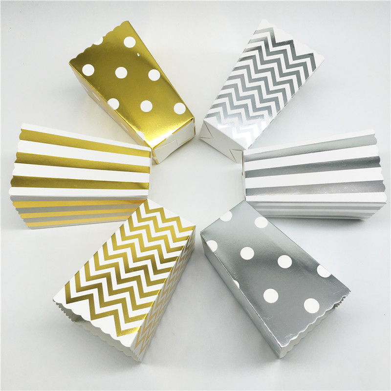 12pcs Gold Silver Stripe Wave Dot Paper Popcorn Boxes Bag Birthday Party Decorations Kid Baby Shower Boy Girl Party Supplies Hot