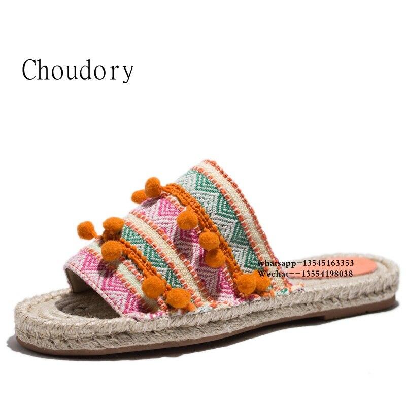 Top Designer balle Pom Pom dame pantoufles Floral embelli femmes appartements gladiateur sandales chaussures fille tongs chaussures livraison gratuite