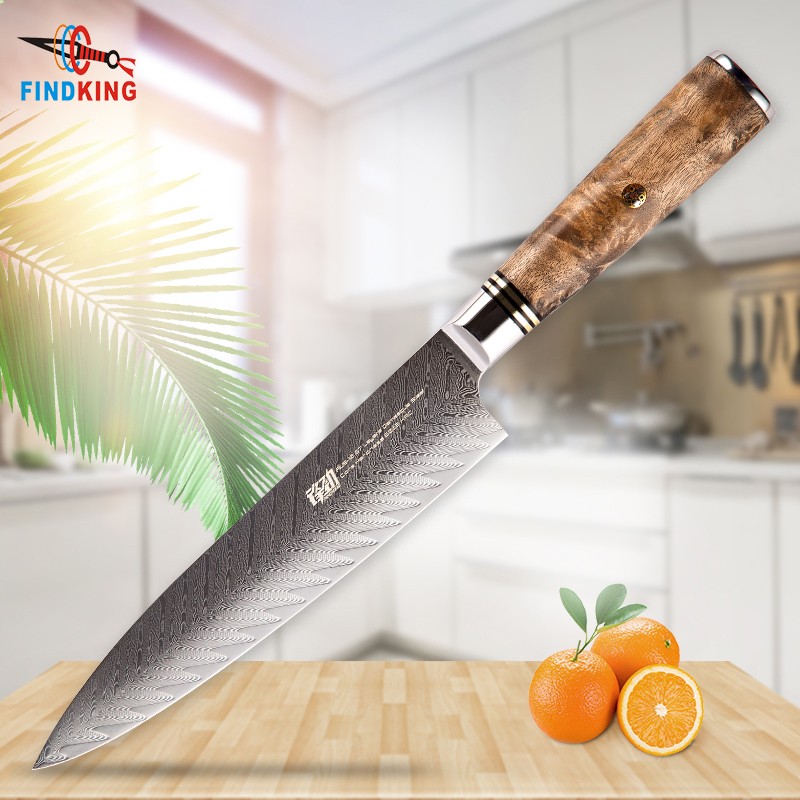 FINDKING New AUS 10 damascus steel Sapele wood handle arrow pattern damascus knife 8 inch chef