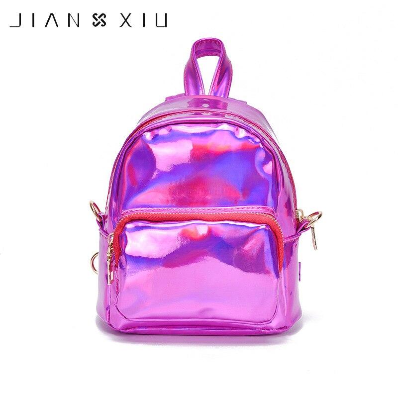 JIANXIU Mini Laser Backpack Women girls Bag PU Leather for Teenage