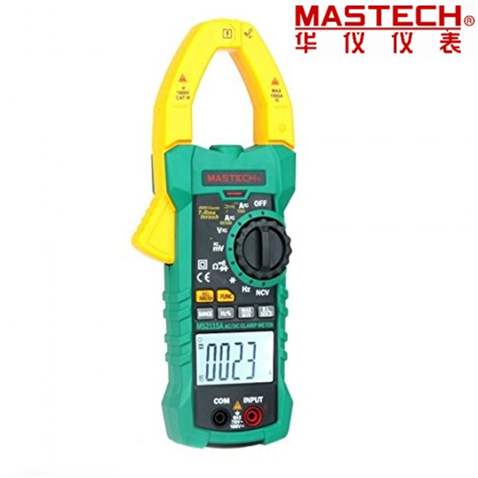 2017 New Mastech MS2115A 6000 Counts True RMS Digital Clamp Meter AC/DC Voltage Current Tester with INRUSH and NCV Measurement mastech ms2001c digital clamp meter ac dc voltage tester detector with diode and backlight
