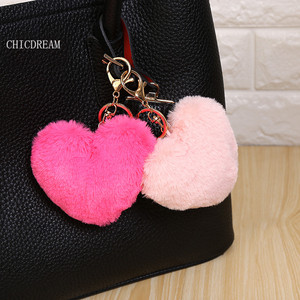 Faux Rabbit Fur Heart Design Keychain Ball PomPom Cell Phone Pendant Gold Metal Buckle Charm Key Ring Christmas Gift For Women