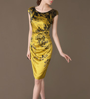 Women Ol Summer Hot Sale Print 100% Silk Dresses Spring Hedging Slim Long Gold Print Silk Dress