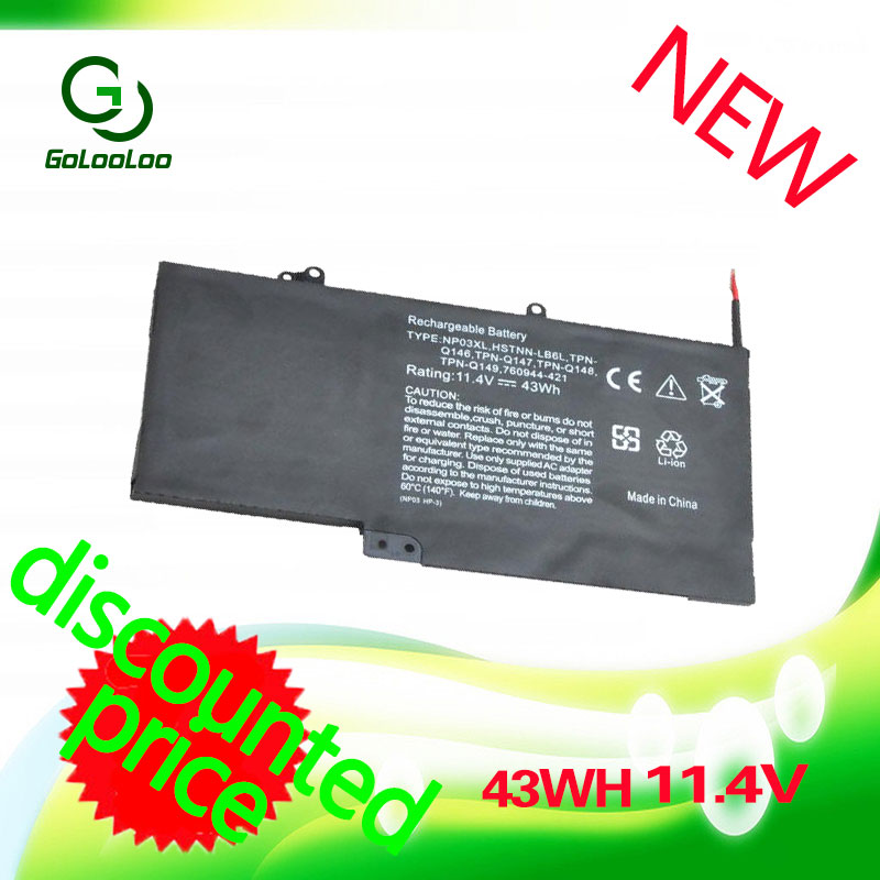 GOLOOLOO 43WH 11.4v Laptop battery For HP Pavilion X360 NP03XL HSTNN-LB6L TPN-Q146 TPN-Q147 TPN-Q148 TPN-Q149 760944-421 15 2v 58wh rr04 notebook battery for hp omen 15 15 5014tx tpn w111 778951 421 4icp6 60 80 hstnn lb6n