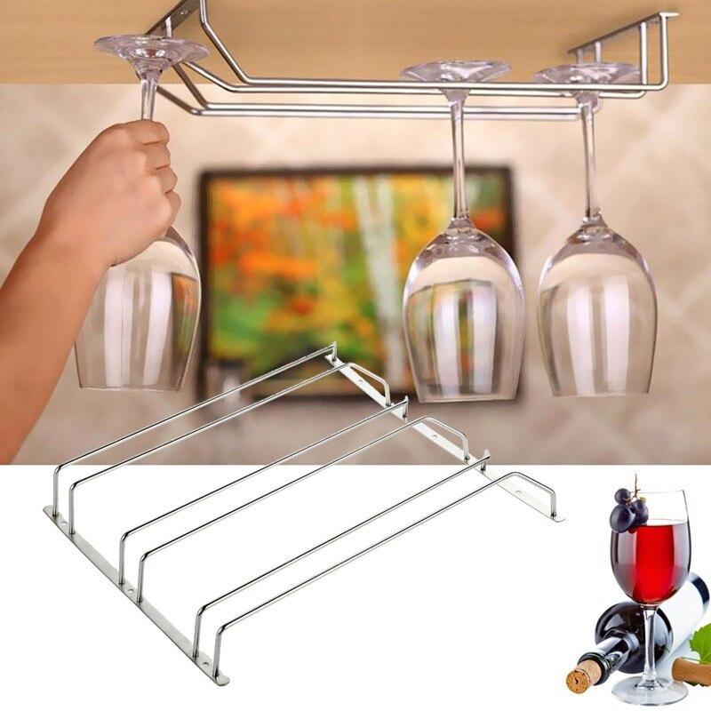 6 Hooks Cup Holder Hang Kitchen Cabinet Under Shelf: Stainless Steel Wine Holder Stemware Wine Rack Under
