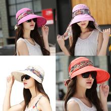 Women Summer Sun Hats For Girls UV Protection Visor Hat With Big Heads Fashion Femmale Outdoor 2018 New