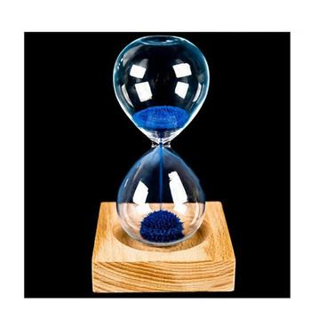 Drewno szkło sproszkowane żelazo piasek żelazo kwitnące klepsydra magnetyczna 13 5*5 5 CM drewniane krzesło z opakowaniem prezenty Home Decor tanie i dobre opinie 13 5 * 5 5cm 8 * 8 * 2cm wood + glass + iron powder sand decoration