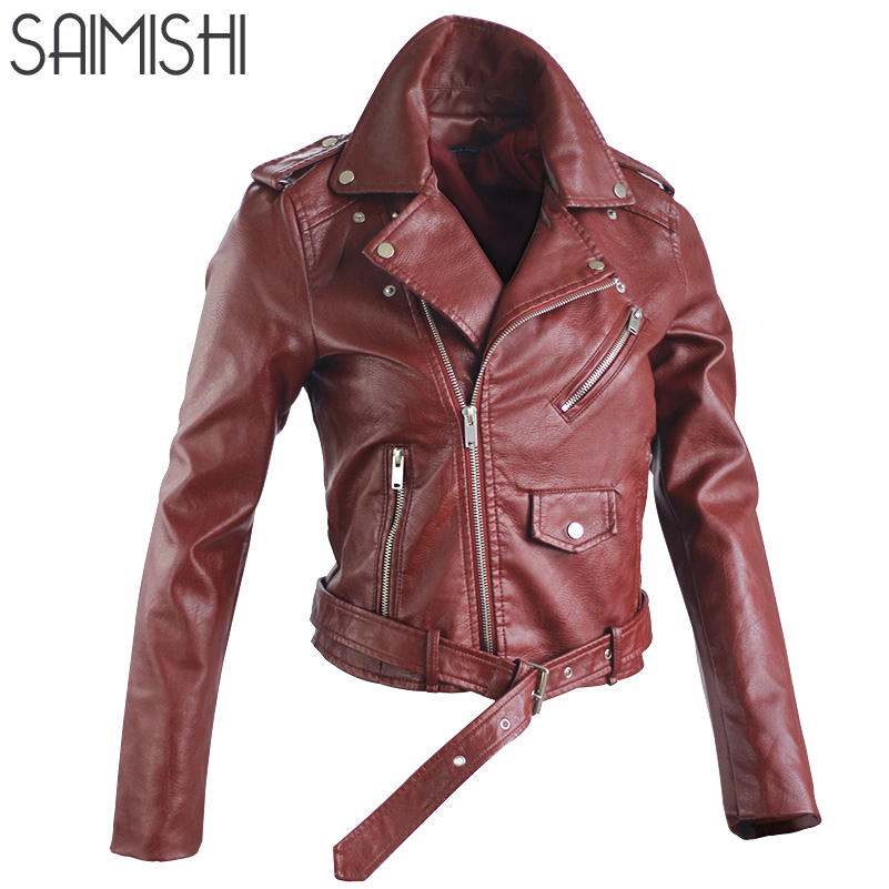 Motorcycle Women Jackets Faux PU Leather Spring Autumn Fashion Short Locomotive Jacket Long Sleeve Zipper Womens Coats Outdwear