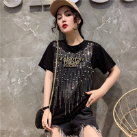 3 colors Fashion Sequined Letter Summer T Shirts Women Tops White Black Red Loose Round Neck Casual Female Shirts Femme