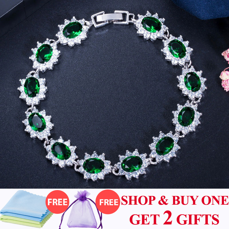 ThreeGraces Elegant 925 Sterling Silver Cubic Zirconia Jewelry Dark Green Big Flower Crystal Charm Gelang Untuk Wanita BR054