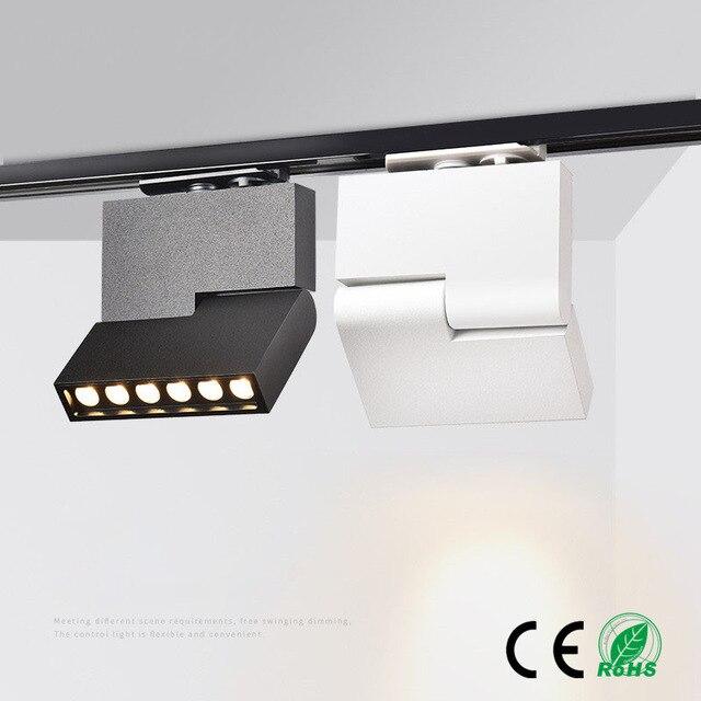 2 pièces Led piste lumière rotative piste éclairage Spot lumière 6 W 12 W plafond monté lampe de suivi projecteur pour bureau AC110V/240 V