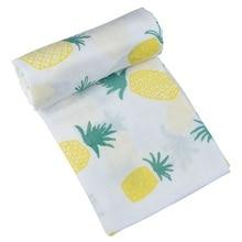 Najnowszy miękki ananas Musin Neweborn 120 * 120 cm muślinowy koc organiczny ręcznik kąpielowy z bambusa dla dzieci
