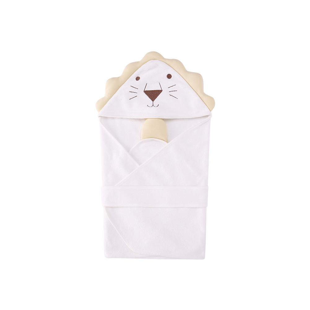 Pureborn Baby Bathrobe Cute Animal Cartoon Lion Babies Blanket boys Girls Kids Hooded Toddler Baby Bath Towel Cotton Comfortable