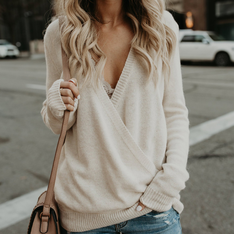 2019 New Women Spring Sweater Deep V-neck Sexy Female Pullover 7 Colors Cashmere Female Jumper Womens