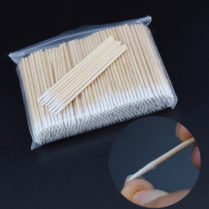 300 PCS/pack Short Wood Handle Small Pointed Tip Head Cotton Semi Permanent Eyebrow Tattoo Beauty Makeup Color Dedicated