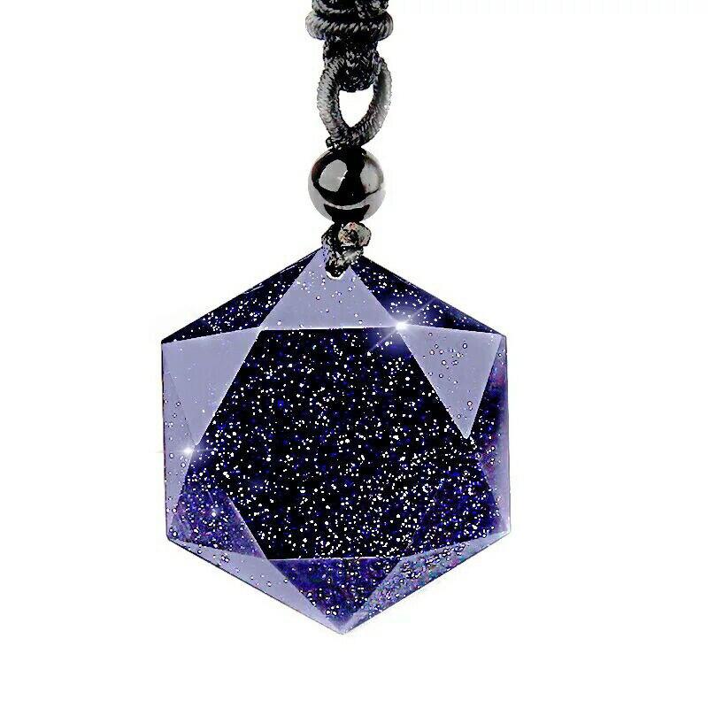 Natural Stone Black Obsidian Six Stars Pendant Necklace