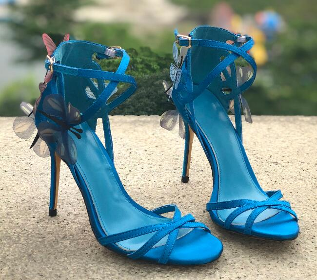 Lake Blue Shoes in Summer for Woman Causal Shoes Super High Heel Ankle Lace butterfly decoration Ladies Thin Heel ShoesLake Blue Shoes in Summer for Woman Causal Shoes Super High Heel Ankle Lace butterfly decoration Ladies Thin Heel Shoes