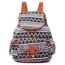 Мода национальный стиль боковые карманы печати холст causual рюкзак многоцветный геометрическая фото школьная сумка рюкзак путешествия