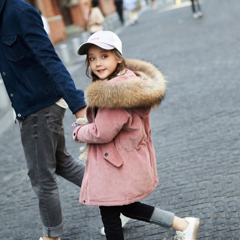 2017 Winter New Girls Down Jacket Thicken Korean Version Big Fur Collar Kids Coat Children Warm Coat Girls' Jackets,4-14Y,#2386 lucky panda 2016 woman the new winter coat in the korean version of women s fur collar down cotton cultivation lkb021