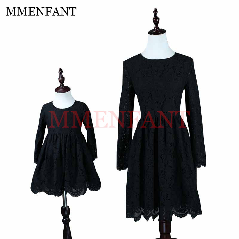 European and American Style family look girl eyelash lace princess dress mother daughter dresses black long sleeves lace dress