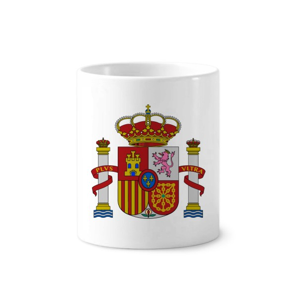 Spain Europe National Emblem Toothbrush Pen Holder Mug White Ceramic Cup 12oz image