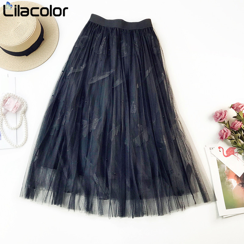 Feathers Embroidery Beading Women Long Mesh Skirts 2019 Spring Summer Elastic High Waist Girls Sweet Skirt Lady Party Skirts in Skirts from Women 39 s Clothing