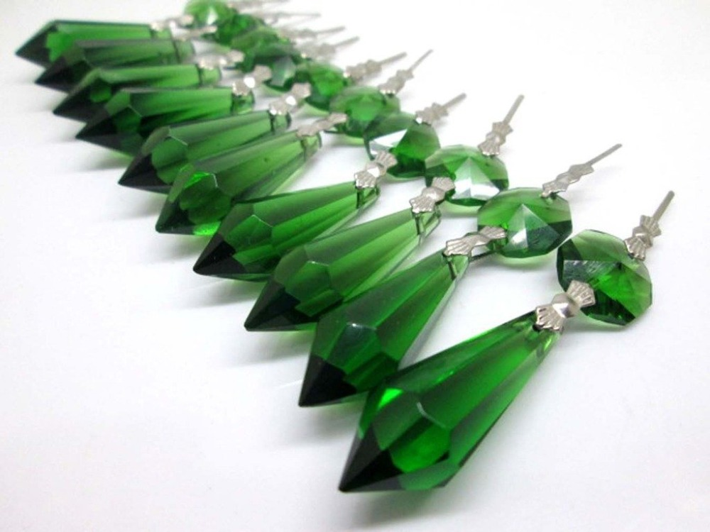 2.16 Be Friendly In Use 20pcs/lot Green Crystal Glass Chandelier Icicle Drop Pendants Hanging Lighting Prisms Parts Height 55mm