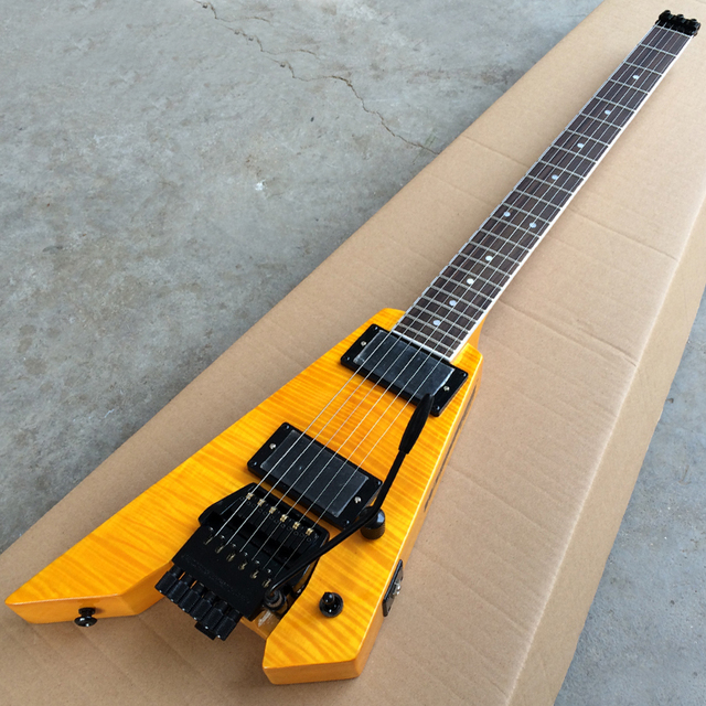 US $230 0 | New arrival Headless Electric Guitar, Double Tremolo Bridge  Guitar, Flame Maple top, Black Hardware, Yellow Guitar -in Guitar from  Sports