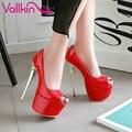 Vallkin 2017 mulher de salto alto fino bombas partido sexy peep Primavera do dedo do pé Mulheres Sapatos Estilo Ocidental Platfrom Sapatos de Casamento Do Tamanho 34-43