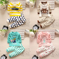 Roupa do bebê 2016 novos meninos meninas do bebê roupas definir Roupa do bebê Inverno 2 PCS roupa interior macio do bebê meninas pijama