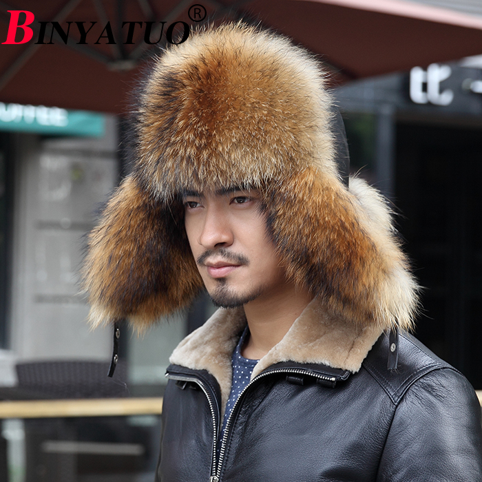 autumn and winter male outdoor thermal raccoon fur fox fur sheepskin genuine leather lei feng cap