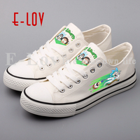 E LOV 2018 New Cartoon Printed Canvas Shoes Customzied Low Top Men Boys Casual Flat Shoe Design Valentine Gifts