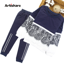 Artishare Girls Sports Suit Winter Spring Kids Sport Outfits For Girls Lace Teenage Kids Girls Clothes 8 10 12 14 Year