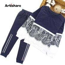 Artishare Mädchen Sport Anzug Winter Frühling Kinder Sport Outfits Für Mädchen Spitze Teenager Kinder Mädchen Kleidung 8 10 12 14 jahr